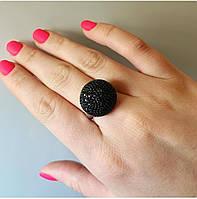 Серебряное стильное кольцо Сфера с кубическим цирконием