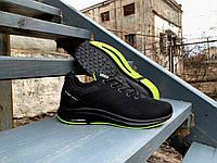 Мужские кроссовки BaaS Super Soft Black/Lime черные с салатовым