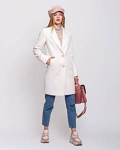 Весеннее женское классическое белое пальто с английским воротником