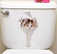 Виниловая наклейка на сантехнику кошка.