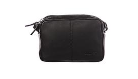 Сумка з натуральної шкіри Buono Leather через плече, чорного кольору