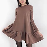 Женское платье креп-дайвинг чёрный мокко молоко 42-44 46-48 50-52