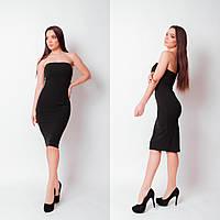 Женское вечернее платье креп-дайвинг черный S-M L-XL