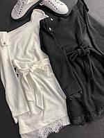 Женское платье-туника ангора черный молочный универсал