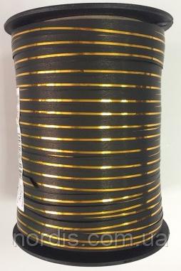 Лента для воздушных шаров и подарков черная с золотой полосой.Продаем от 1 метра.
