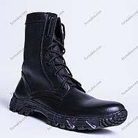 Берцы кожаные с перфорацией Патриот Черные, фото 1