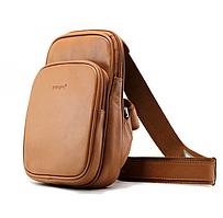 Сумка-рюкзак из натуральной кожи Buono Leather через плечо, коричневого цвета