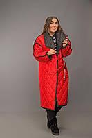 Женская длинная двухсторонняя куртка плащевка на весну батал