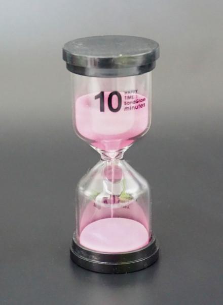 Песочные часы 10 минут простые с розовым песком