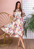 Платье миди  приталенное поясом с цветочным принтом, фото 1