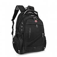 Швейцарский рюкзак, SwissGear с дождевиком, USB-кабелем, разъёмом под наушники, Чёрный