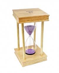 Песочные часы 15 минут на квадратной деревянной подставке сиреневый песок
