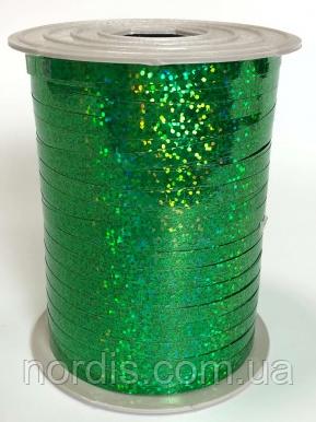 Лента для воздушных шаров и подарков голография зеленая.Продаем от 1 метра.