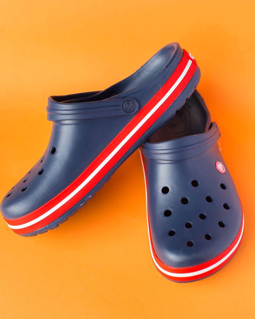 """Кроксы мужские синие с красной подошвой """"Crocsband"""""""