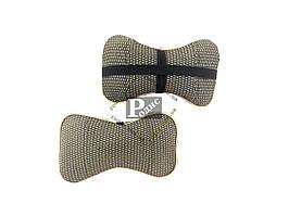 Автомобильная подушка для шеи (желтая) - Подушка на подголовник универсальная