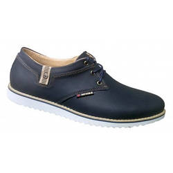 Мужские кожаные туфли осенние 40-45 синий винтаж