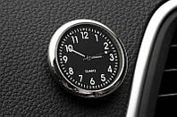 Часы кварцевые в автомобиль годинник в машину на наклейке часики чёрный циферблат