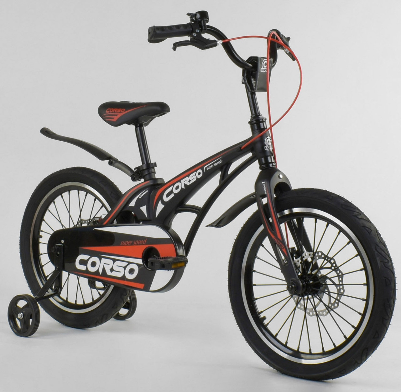 """Велосипед 18"""" дюймов 2-х колёсный """"CORSO"""" MG-18 W 338 ЧЁРНЫЙ 86849"""