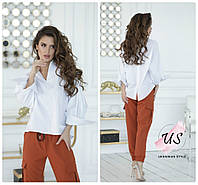 Женская однотонная коттоновая рубашка с длинным рукавом. 3 цвета!, фото 1