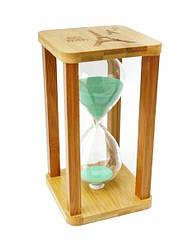 Песочные часы 60 минут на квадратной бамбуковой подставке зеленый песок