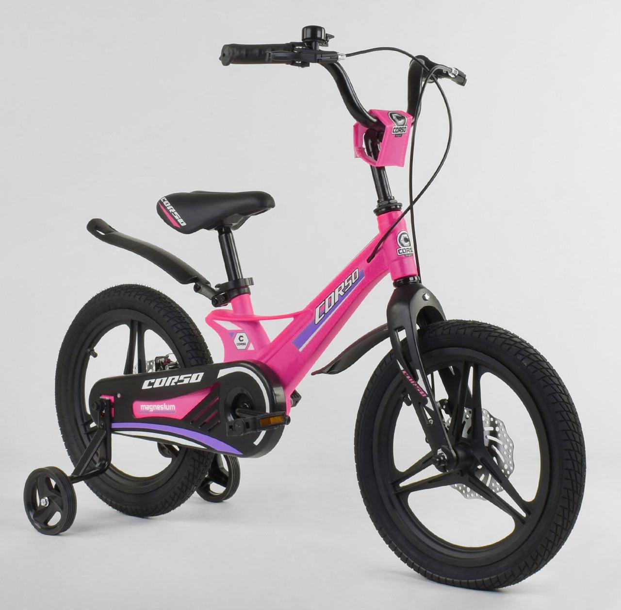 """Велосипед 16"""" дюймів 2-х колісний """"CORSO"""" MG-88334 РОЖЕВИЙ 86809"""