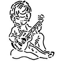 Трафарет для торта мальчик с гитарой Martellato MASK116 26 см