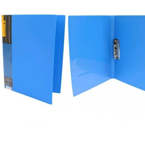 Папка с прижимом А4 SCHOLZ 05500 с карманом синий 700мкн РР (1/20)
