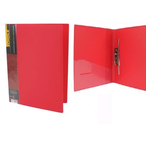 Папка с длинные. нажимом А4 SCHOLZ 05502 с карманом красная 700мкн РР (1/20)
