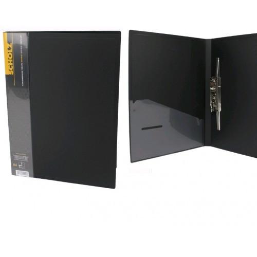 Папка с длинные. нажимом А4 SCHOLZ 05502 с карманом черный 700мкн РР (1/20)