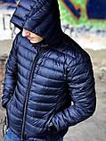 Чоловіча пуховик, розмір M (48), темно-синій, фото 6