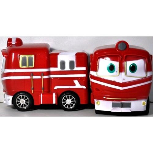 Машина муз Robot trains 828-6 работает от батареек (таблетки) в комле. 17 * 17 * 10