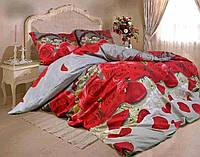 КОМПЛЕКТ ПОСТЕЛЬНОГО БЕЛЬЯ Розы 3D, сердечка. Цвет красный + серый. ткань БЯЗЬ. размер - ЕВРО