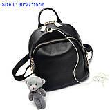Модний рюкзак міський жіночий, розмір L Чорний, фото 2