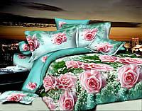 КОМПЛЕКТ ПОСТЕЛЬНОГО БЕЛЬЯ с Розами. Цвет розовый, бирюзовый. Ткань БЯЗЬ. размер - ЕВРО