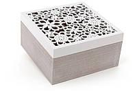Коробка для чая деревянная (6 отделений) 18см с резной крышкой BonaDi 493-707