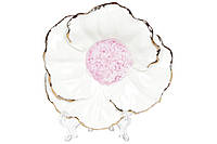 Декоративная подставка для украшений Цветок белый с розовой серединой, 13см BonaDi 727-310