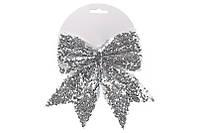 Декоративный бант 17см, цвет - серебро BonaDi 787-101