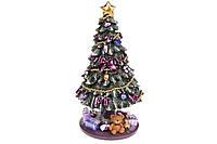 Декоративная фигурка Елочка нарядная с вращением и музыкальным заводным механизмом, 23см, цвет - фиолетовый BonaDi 559-429