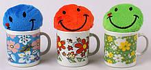 Чашка керамическая 120мл с мягкой игрушкой Смайлик, 3 вида BonaDi BS03