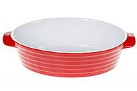 Овальная форма для выпечки с ручками 28см, цвет - красный с белым BonaDi 319-314