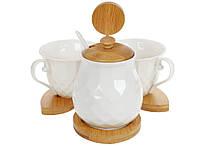 Кофейный фарфоровый Naturel: сахарница 300мл с ложкой, две чашки (150мл) на бамбуковой подставке, 18см BonaDi 289-334