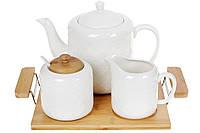 Фарфоровый набор на бамбуковом подносе: чайник, молочник, сахарница с ложкой, 31см BonaDi 289-328