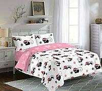 КОМПЛЕКТ ПОСТЕЛЬНОГО БЕЛЬЯ с кошками. Цвет белый, розовый, красный. Ткань БЯЗЬ. размер - ЕВРО