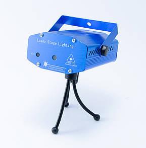 🔝 Лазерный проектор для световых эффектов, Mini Laser Stage HJ, Синий, лазерная гирлянда, светомузыка   🎁%🚚