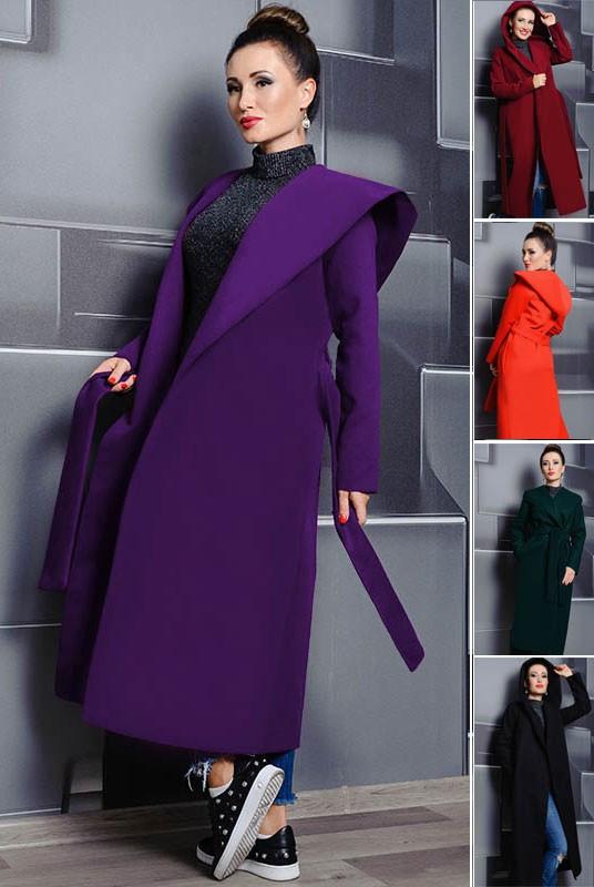 Длинное  женское демисезонное пальто на запах  из кашемира в 5-ти цветах с 42 по 60 размер