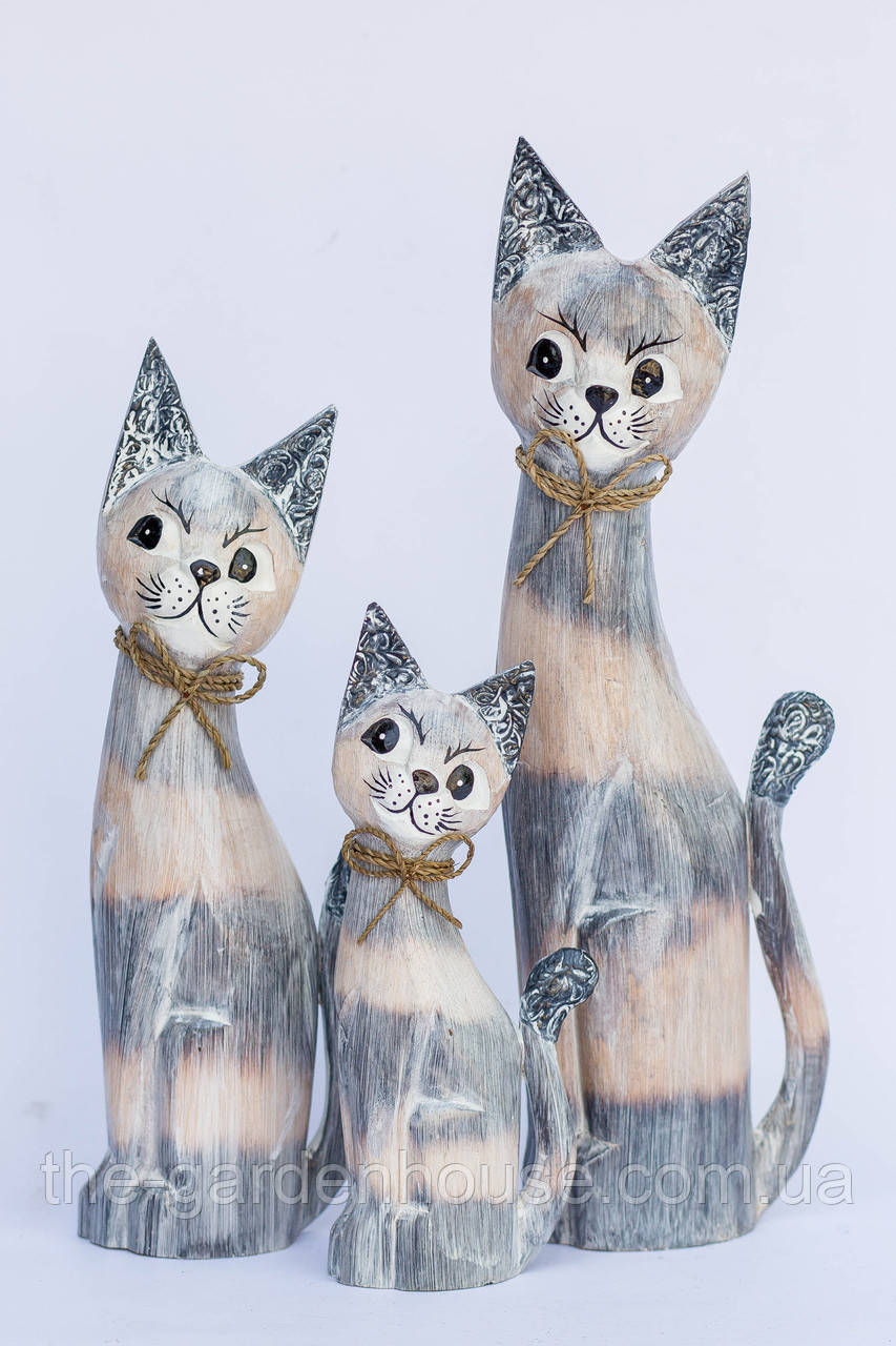 Кот дымчатый с бантиком, 30 см