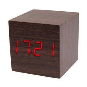 Часы электронные настольные (под дерево) 1294 с красной подсветкой, фото 2