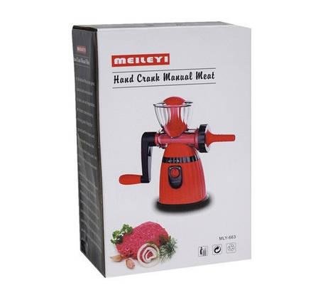 Мясорубка ручная Meileyi Hand Crank Manual Meat MLY-663, фото 2