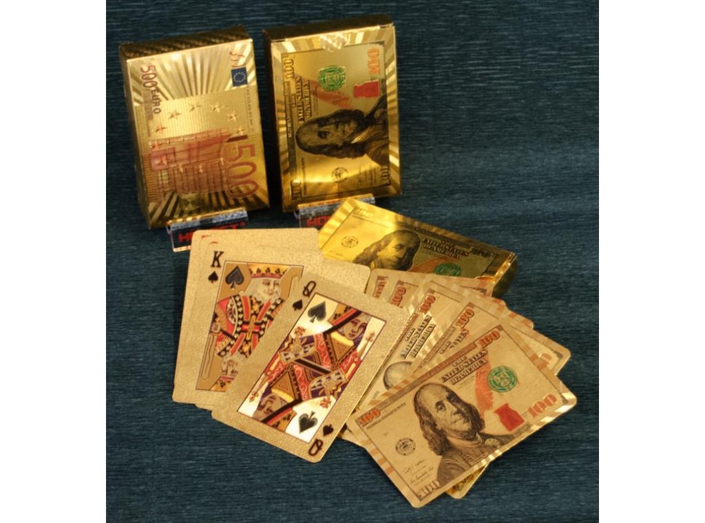 """Пластиковые игральные карты """"золото"""" (Доллар - Евро) i5-78"""