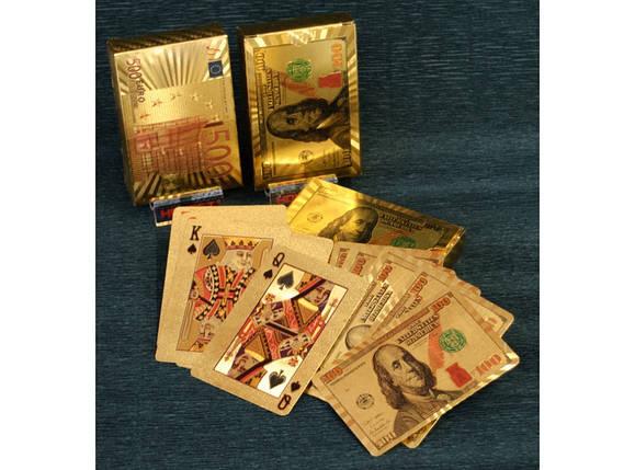 """Пластиковые игральные карты """"золото"""" (Доллар - Евро) i5-78, фото 2"""